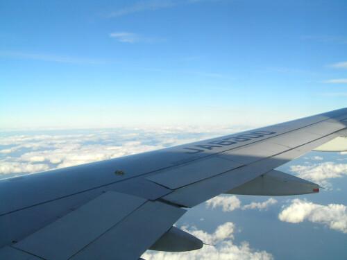 津軽海峡飛行中に