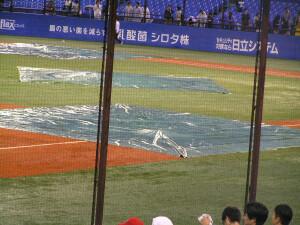 雨の神宮球場